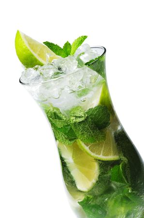 Cocktail - Mojito with Fresh Mint and Lime Slice Stock Photo - 4958166