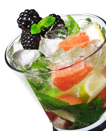 Cocktail - Mojito with Fresh Berry and Grapefruit Slice Stock Photo - 4958207