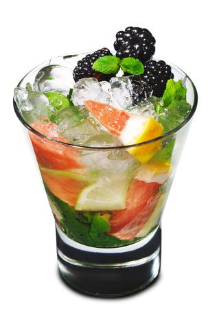 Cocktail - Mojito with Fresh Berry and Grapefruit Slice Stock Photo - 4958199