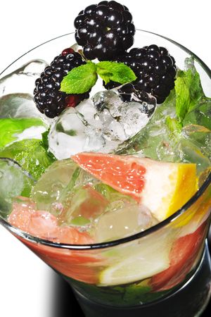 Cocktail - Mojito with Fresh Berry and Grapefruit Slice photo