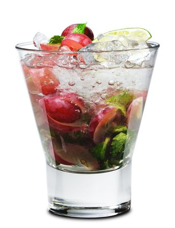 Cocktail - Grape Mojito with Lime and Fresh Mint Stock Photo - 4958291