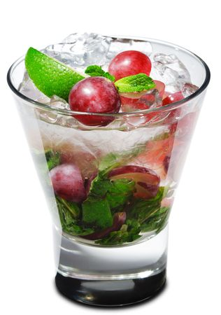Cocktail - Grape Mojito with Lime and Fresh Mint Stock Photo - 4958294