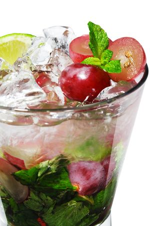 Cocktail - Grape Mojito with Lime and Fresh Mint Stock Photo - 4958279