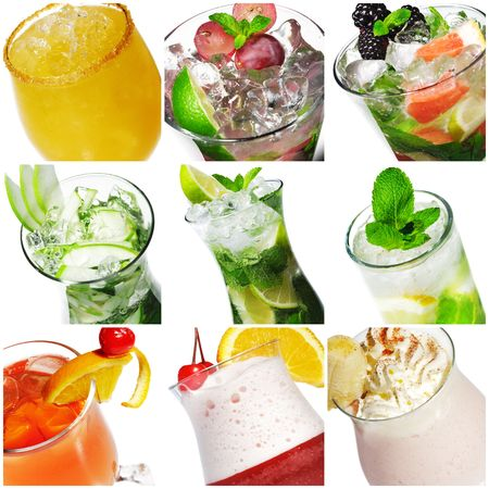 Collage from nine Cocktail Photographs Isolated over White Stock Photo - 5123055