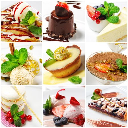 Collage from nine Photographs of Dessert photo