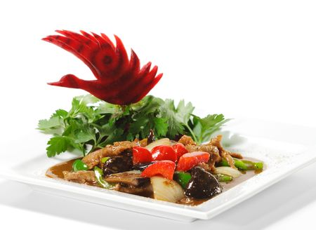 Chinese - Meat with Black Fungus and Parsley, Red Beet photo