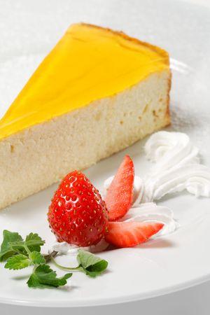 Dessert - Orange Cheesecake with Whip and Fresh Strawberry Stock Photo - 5123095