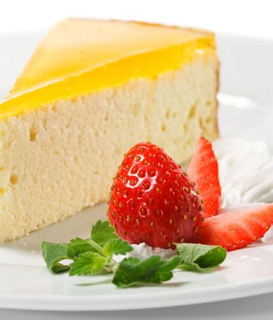 Dessert - Orange Cheesecake with Whip and Fresh Strawberry Stock Photo - 5123121