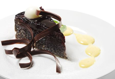 Dessert - Chocolate Cake with Cherries Jelly and Sauce photo