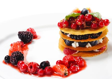 dessert plate: Dessert with Berries and Fresh Mint Stock Photo