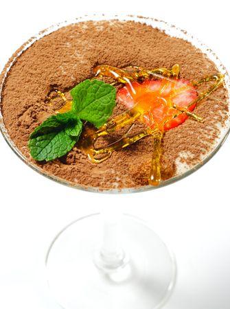 Tiramisu Dessert in a Glass with Mint and Strawberry photo