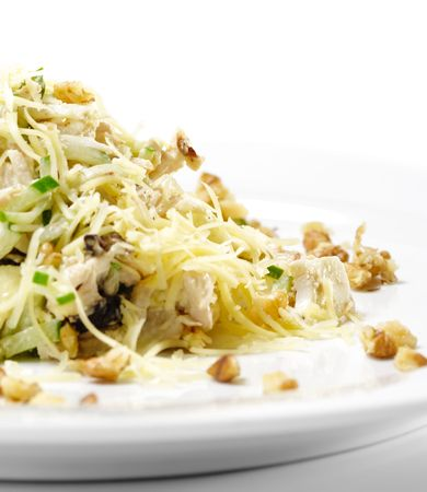 Chicken Salad with Nuts. Isolated on White Background Stock Photo - 5123243