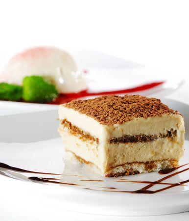 Dessert - Tiramisu Cheesecake with Chocolate Sauce photo