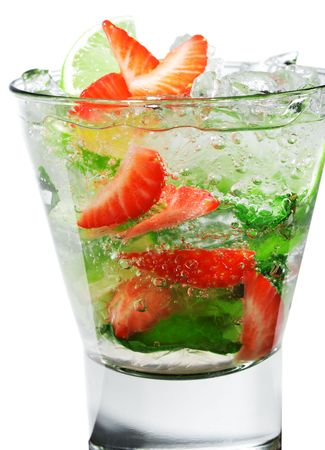 Cocktail - Berry Mojito with Lime Slice and Strawberry Stock Photo - 5123248