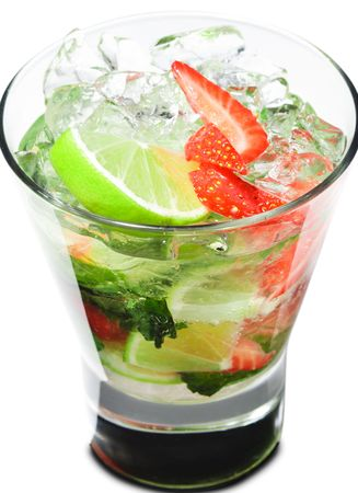 Cocktail - Berry Mojito with Lime Slice and Strawberry Stock Photo - 5123220