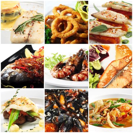 Collage from nine Photographs of Seafood photo