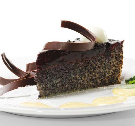 Dessert - Chocolate Cake with Cherries Jam and Sauce Stock Photo