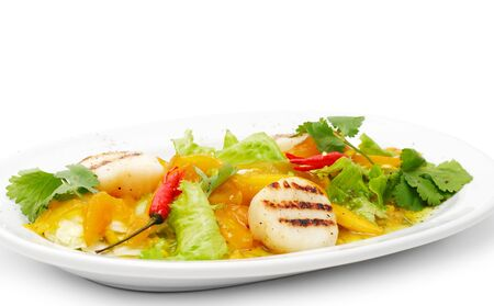 Grill Fish with Vegetables and Red Chilli Pepper photo