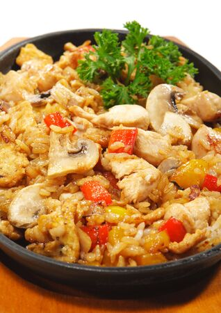 Japanese Cuisine - Rice with Chicken Meat and Mushrooms and Vegetables