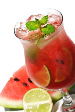 caipirinha: Watermelon Caipirinha - Cocktail with Watermelon, Cachaca, Rum, Sugar and Lime. Isolated on White Background Stock Photo