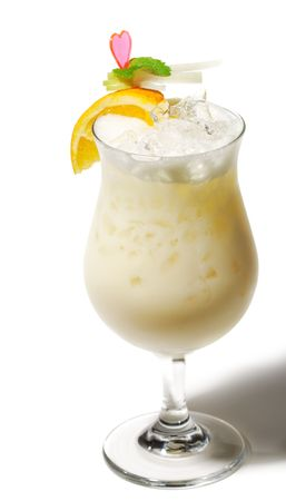Pina Colada - Cocktail with Cream, Pineapple Juice and Rum. Isolated on White Background photo