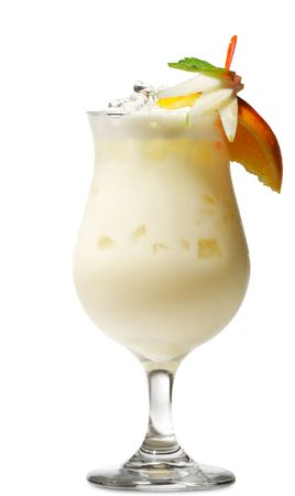 colada: Pina Colada - Cocktail with Cream, Pineapple Juice and Rum. Isolated on White Background Stock Photo