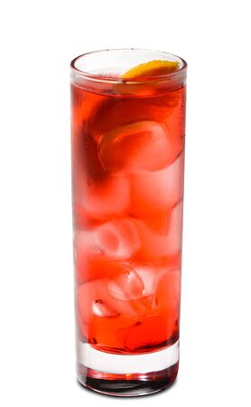 Red Cocktail with Grenadine Syrup, Soda and Campari. Isolated on White Background photo
