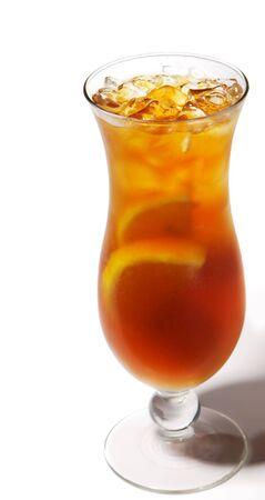 Long Island Iced Tea with Lemon. Isolated on White Background photo