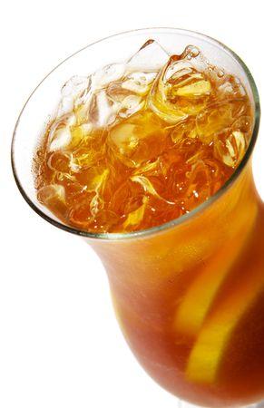 Long Island Iced Tea with Lemon. Isolated on White Background Stock Photo