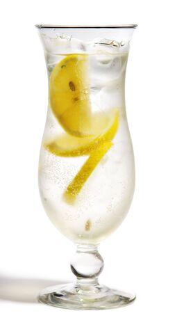 French Lemonade - Alcoholic Cocktail with Soda and Lemon. Isolated on White Background Stock Photo - 5472050