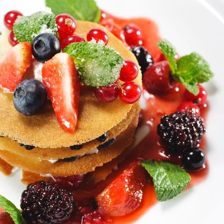 Dessert with Berries and Fresh Mint Stock Photo - 5472024