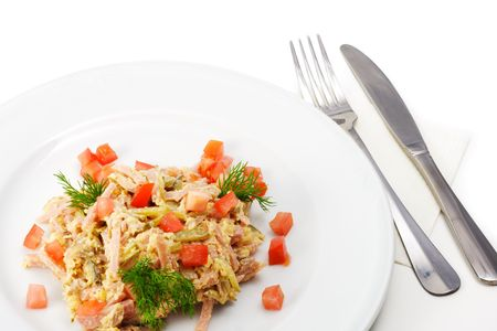 Salad Comprises Chopped Smoked Chicken and Champignon Dressed with Dill and Tomatoes photo