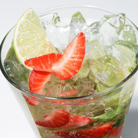 Cocktail - Berry Mojito with Lime Slice and Strawberry Stock Photo - 5472088