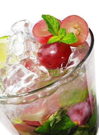 Cocktail - Grape Mojito with Lime and Fresh Mint Stock Photo - 5471972