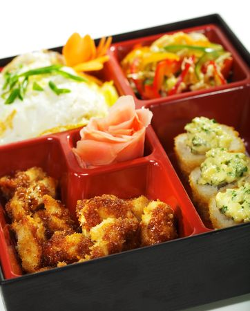 bento: Bento Lunch: Chinese cabbage Salad, Hot Roll, Hot Appetizer and Omelette Stock Photo