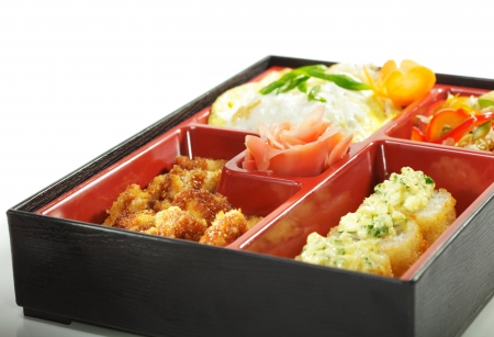 Bento Lunch: Chinese cabbage Salad, Hot Roll, Hot Appetizer and Omelette photo