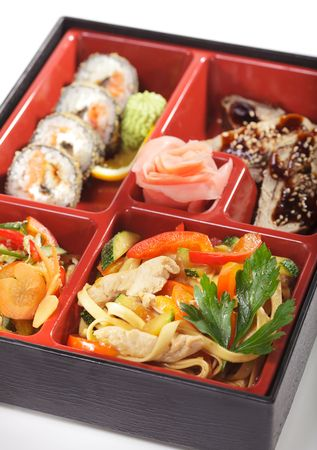 eel: Japanese Bento Lunch - Salad with Cold Eel Appetizers and Hot Roll