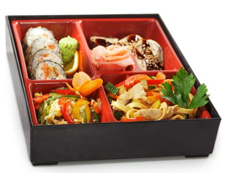 Japanese Bento Lunch - Salad with Cold Eel Appetizers and Hot Roll photo