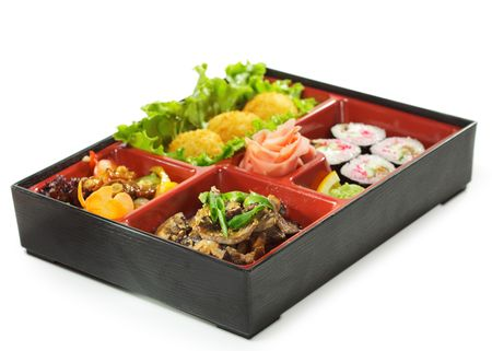 Japanese Bento Lunch - Mushrooms Salad with Hot Rice Appetizer and Hot Roll photo