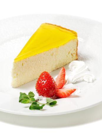 Dessert - Orange G�teau au fromage et aux fraises fra�ches et Whip Banque d'images