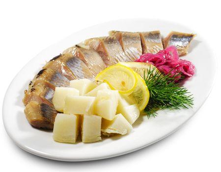 kipper: Kipper with Onion and Potato Stock Photo