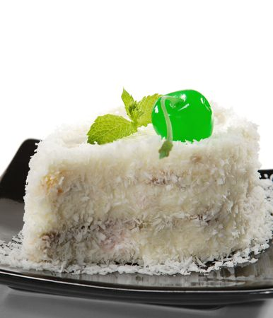 Dessert - Cherry Cake with Coco Powder and Mint photo
