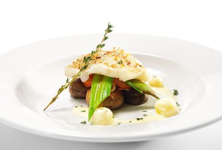 Hot Fish Dishes - Halibut fillet with Mushrooms, Tomatoes and Bacon Stock fotó