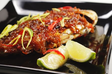 Thai Dishes - Grilled Dorado with Lime and Pepper photo