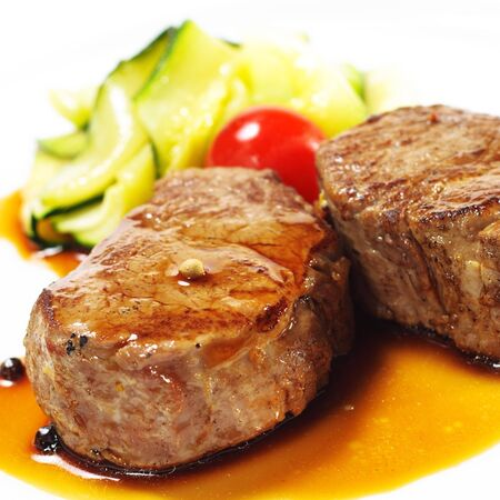 Hot Meat Dishes - Veal Medallions with Zucchini and Cherry Tomato