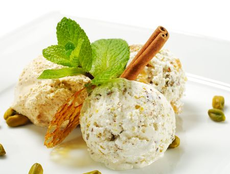 Dessert - Home-made Ice-cream with Fresh Mint and Cinnamon