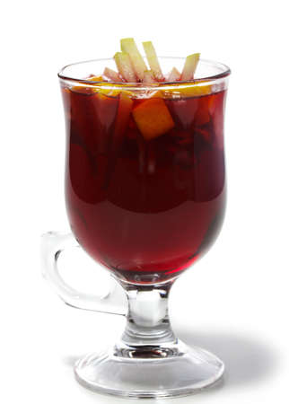 mulled: Warm Drink - Mulled Red Wine with Fruit Stock Photo