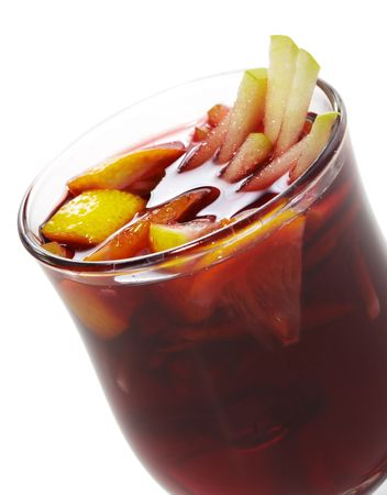 warm drink: Warm Drink - Mulled Red Wine with Fruit Stock Photo