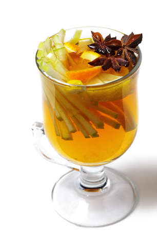 warm drink: Warm Drink - Mulled White Wine with Spice and Apple Slice and Anise