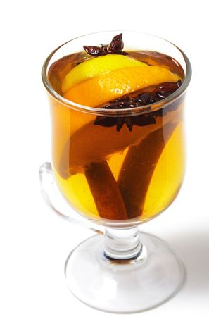 warm drink: Warm Drink - Mulled White Wine with Apple Juice and Liqueur Malibu and Cinnamon Sticks